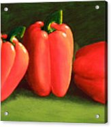 Deep Red Peppers Acrylic Print