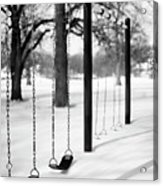 Deep Snow & Empty Swings After The Blizzard Acrylic Print