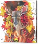 Deer And Fall Leaves Acrylic Print