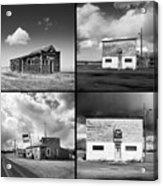 Defunct Country Taverns On North Dakota Prairie Composite Square Acrylic Print