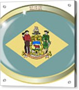Delaware State Flag Oval Button Acrylic Print