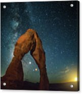 Delicate Arch Moonset Acrylic Print