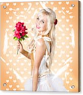 Delicate Young Woman Holding Flower Bunch Acrylic Print