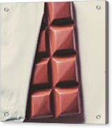 Delicious Chocolate Bar In Wrapping On Plate Acrylic Print