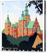 Denmark, Rosenborg Castle, Vintage Travel Poster Acrylic Print