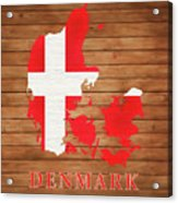 Denmark Rustic Map On Wood Acrylic Print