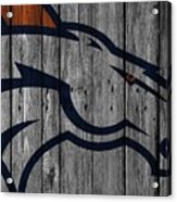 Denver Broncos Wood Fence Acrylic Print