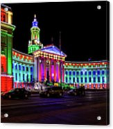 Denver City County Building Holiday Lighting. Acrylic Print