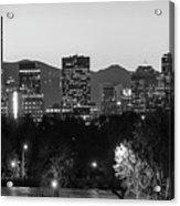 Denver Colorado Skyline Wide Angle Black And White Acrylic Print
