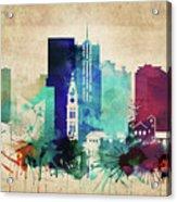 Denver Colorado Vintage Skyline Acrylic Print