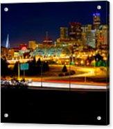 Denver Night Skyline Acrylic Print by James O Thompson