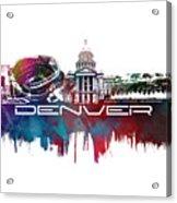 Denver Skyline City Blue Acrylic Print