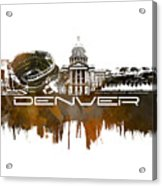 Denver Skyline City Brown Acrylic Print