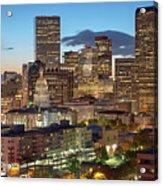 Denver Skyline Evening Panoramic Acrylic Print