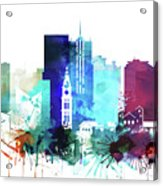 Denver Watercolor Skyline Acrylic Print