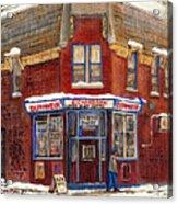 Depanneur De Montreal Pointe St Charles Best Original Montreal Paintings On Sale Peintures A Vendre  Acrylic Print