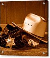 Deputy Sheriff Gear - Sepia Acrylic Print