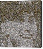 Derek Jeter Baseballs Mosaic Acrylic Print by Paul Van Scott
