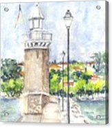 Desenzenzo Lighthouse And Marina In Italy Acrylic Print