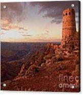 Desert Watchtower At Sunset Acrylic Print