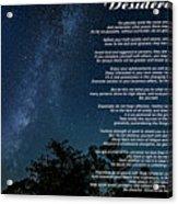 Desiderata - The Milky Way  Acrylic Print