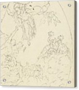 Design For A Ceiling Painting With A Triumph Of Minerva, In Oval, Dionys Van Nijmegen Possibly, 17 Acrylic Print