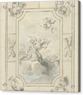 Design For A Ceiling Painting With Allegory Of Peace, Dionys Van Nijmegen, 1715 - 1798 Acrylic Print