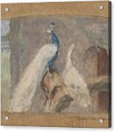 Design For A Dessus De Porte Branch With Peacock And Other Birds, August Allebe, 1874 Acrylic Print