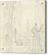 Design For A Garden View With A Peacock On A Fence, Dionys Van Nijmegen Possibly, 1715 - 1798 Acrylic Print