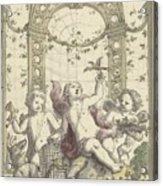 Design For A Gazebo Of Green Trellis, In Which Three Putti Play With Animals, Daniel Marot II, 170 Acrylic Print