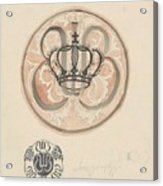 Design For A Plate With Crown And Monogram, Carel Adolph Lion Cachet, 1874 - 1945 Acrylic Print