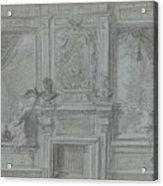 Design For A Room Wall With A Chimney Piece And Paintings, Cornelis Troost, 1720 - 1750 Acrylic Print