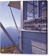 Desolation Peak Fire Lookout Cabin Sign Acrylic Print by David Pluth