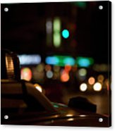 Detail Of A Taxi At Night, New York City, Usa Acrylic Print by Frederick Bass