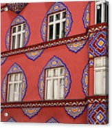 Detail Of Bright Facade Of The Cooperative Business Bank Buildin Acrylic Print