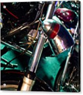 Detail Of Chrome Headlamp On Vintage Style Motorcycle Acrylic Print