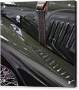 Detail Of Classical Green Vintage Car Hood. Acrylic Print