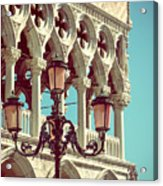 Detail Of Lamp And Columns In Venice. Vertically.  Acrylic Print