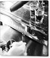Detail Of Making Espresso Coffee With Machine Bw Acrylic Print