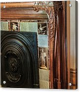 Detail Of Wood Carving And Tiles - Historic Fireplace Acrylic Print