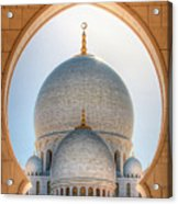 Detail View At Dome Of Sheikh Zayed Grand Mosque, Abu Dhabi, United Arab Emirates Acrylic Print
