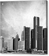 Detroit Black And White Skyline Acrylic Print