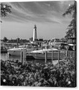 Detroit Lighthouse And Marina 3 Black And White  Acrylic Print