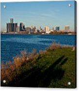 Detroit Skyline And Shadow Acrylic Print