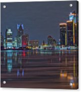 Detroit Skyline From Windsor In Hdr Acrylic Print