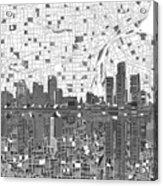 Detroit Skyline Map 5 Acrylic Print
