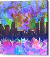 Detroit Skyline Watercolor 1 Acrylic Print
