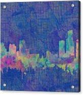 Detroit Skyline Watercolor Blue 3 Acrylic Print