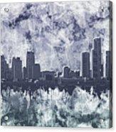 Detroit Skyline Watercolor Grunge Acrylic Print