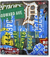 Detroit The Motor City Michigan License Plate Art Collage Acrylic Print